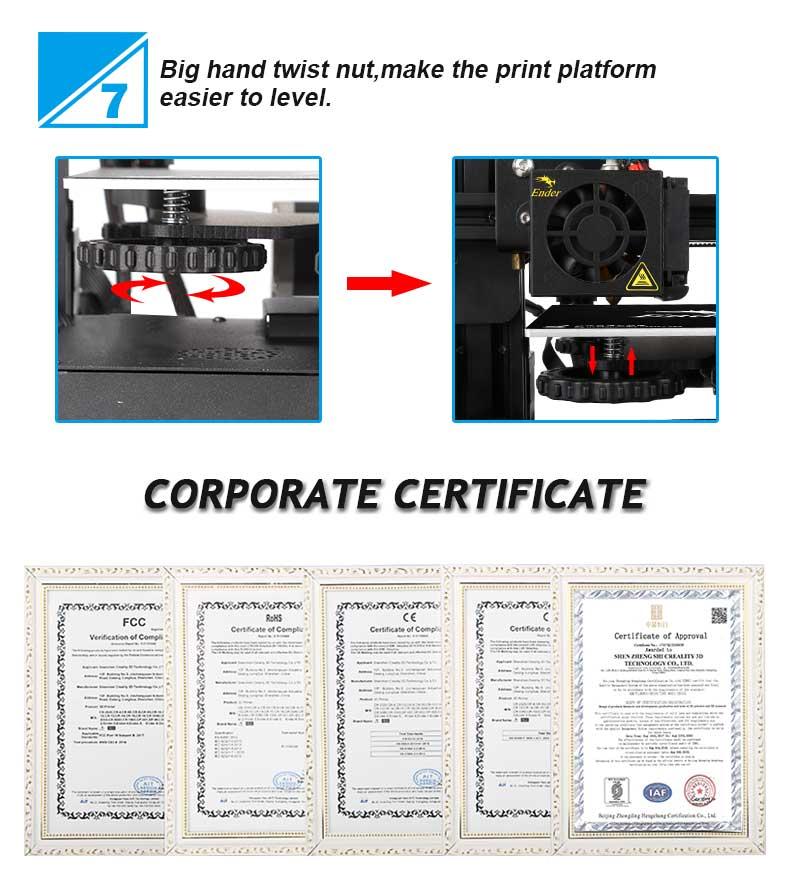 Creality3D Ender 3 3D-Drucker Bausatz - 220x220x250mm - Große Nivelliermuttern - Zertifikate