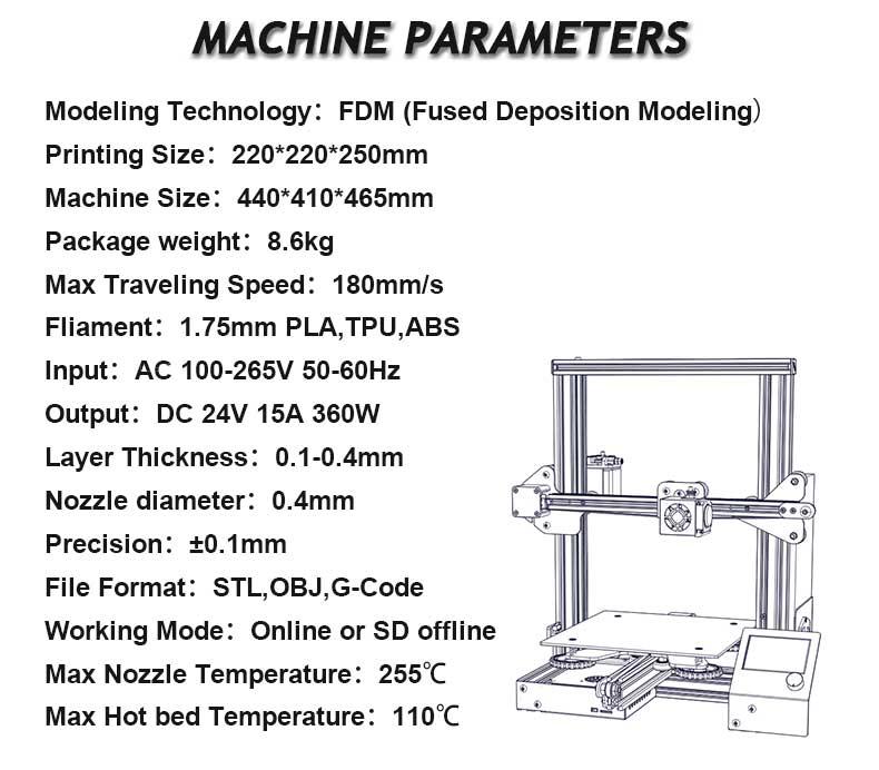 Creality3D Ender 3 3D-Drucker Bausatz - 220x220x250mm - Technische Daten