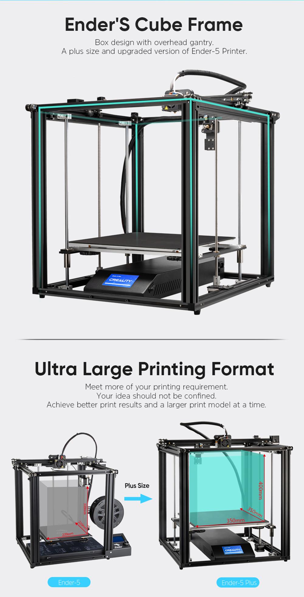 Creality3D Ender 5 Plus 3D-Drucker Bausatz - 350x350x400mm - Verbesserte Version des Ender 5 - Ultra großer Bauraum