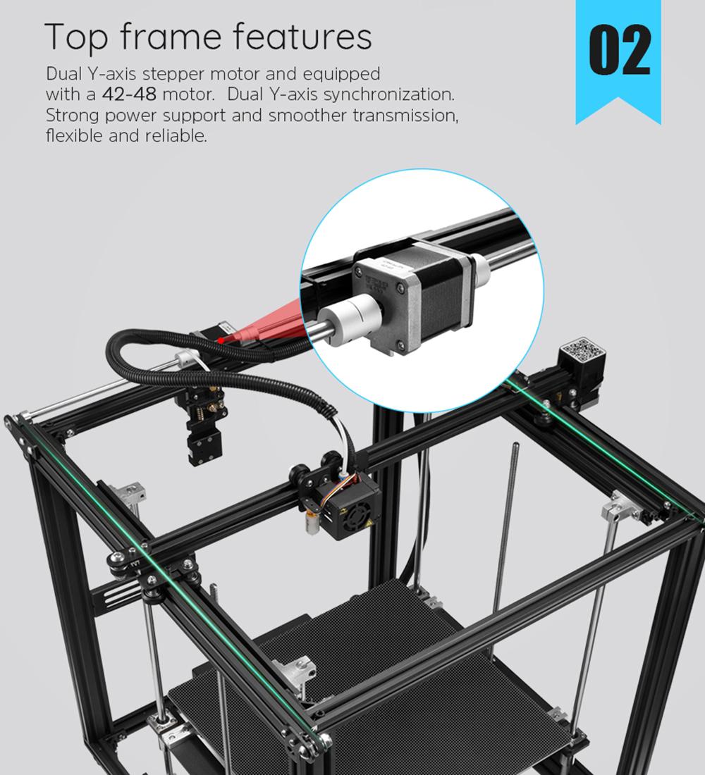 Creality3D Ender 5 Plus 3D-Drucker Bausatz - 350x350x400mm - Starker 42-48 Dual Y-Achsen Schrittmotor