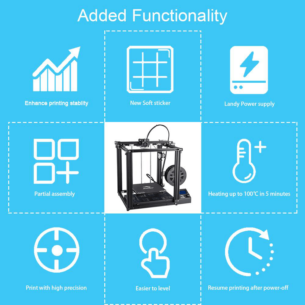 Creality3D Ender-5 3D-Drucker Bausatz - 220x220x300mm - Zusätzliche Funktionen