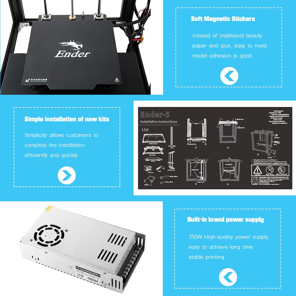 Creality3D Ender-5 3D-Drucker Bausatz - 220x220x300mm - Magnetische Druckplattform - Leichter Aufbau - Marken Netzteil