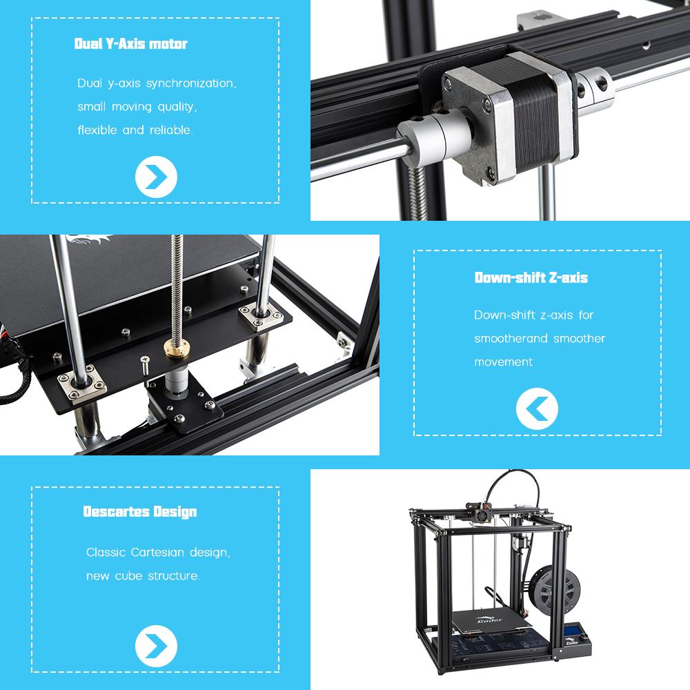 Creality3D Ender 5 3D-Drucker Bausatz - 220x220x300mm - Dualer Y-Achsen Motor - Nach unten verschobene Z-Achse - Neues Würfel Design