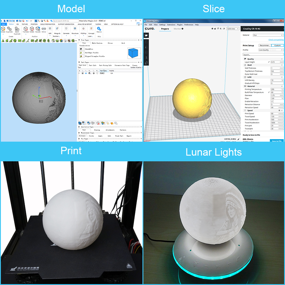 Creality3D Ender-5 3D-Drucker Bausatz - 220x220x300mm - Übersicht vom 3D-Modell zum fertig gedruckten 3D-Bauteil in Funktion