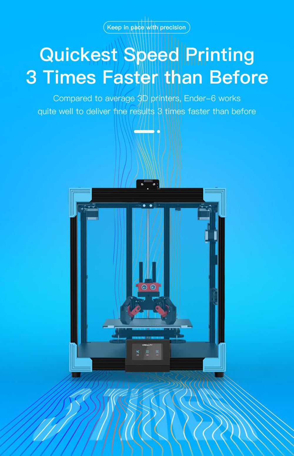 Creality3D Ender 6 3D-Drucker Bausatz - 250x250x400mm - 3 mal schnellerer Druck als zuvor