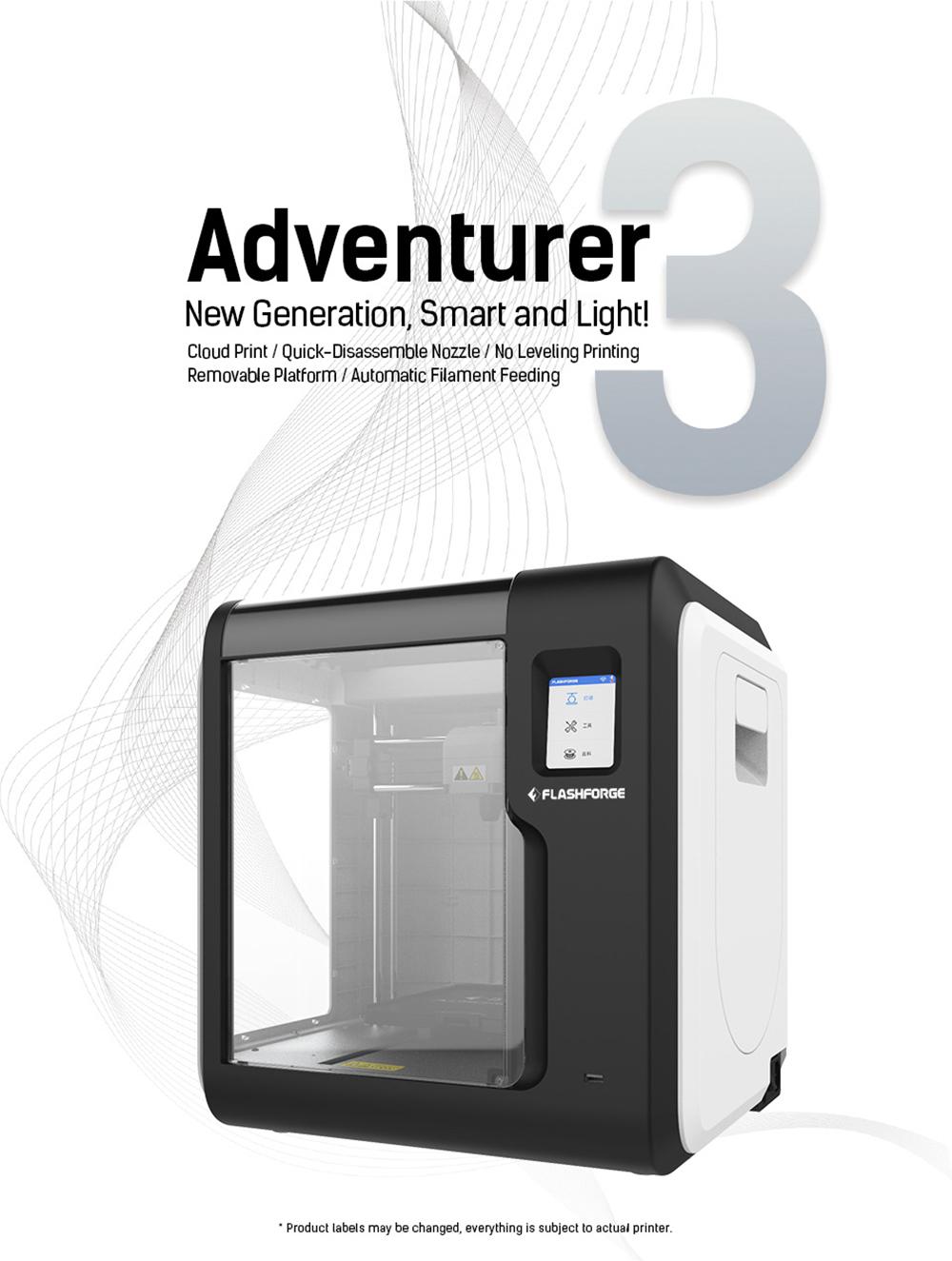Flashforge Adventurer 3 3D-Drucker - 150x150x150mm - Neue Generation