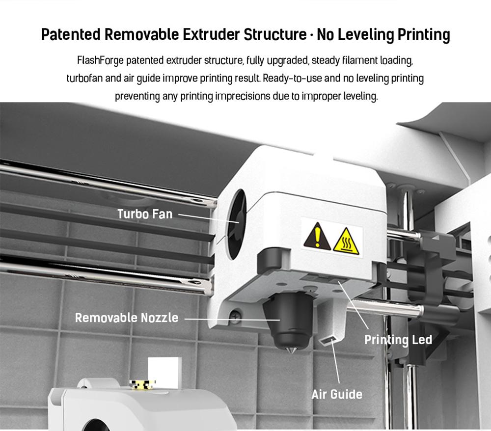 Flashforge Adventurer 3 3D-Drucker - 150x150x150mm - Patentierte wechselbare Extruder Struktur