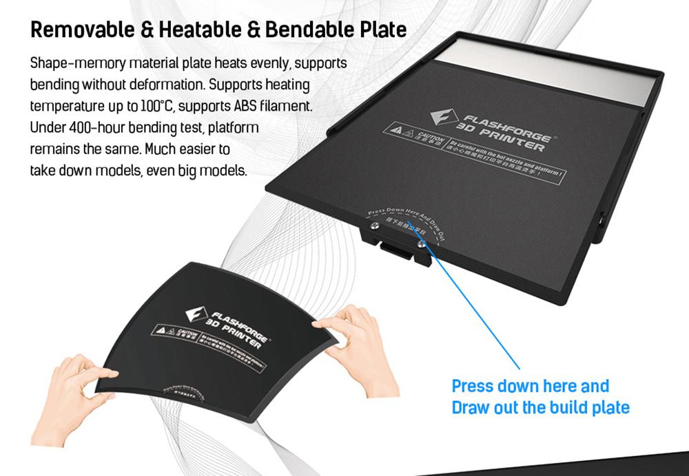 Flashforge Adventurer 3 3D-Drucker - 150x150x150mm - wechsel- und beheizbare biegsame Druckplatte