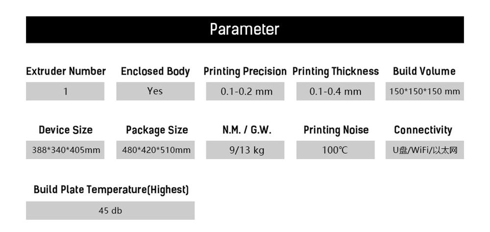 Flashforge Adventurer 3 3D-Drucker - 150x150x150mm - Technische Daten